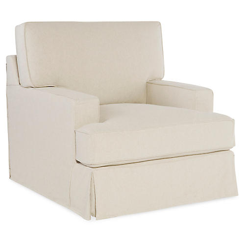 Nelson Swivel Chair, Ecru Cotton