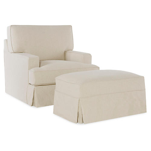 Nelson Chair & Ottoman, Ecru Cotton