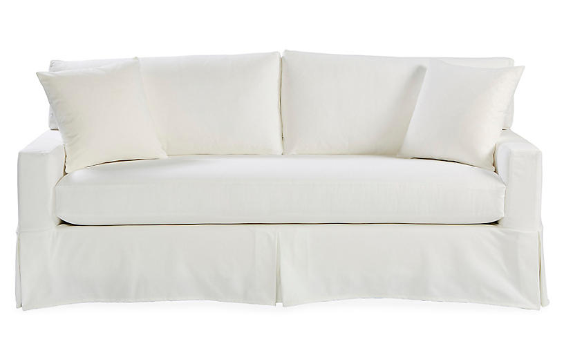 Liza Slipcovered Sofa, White