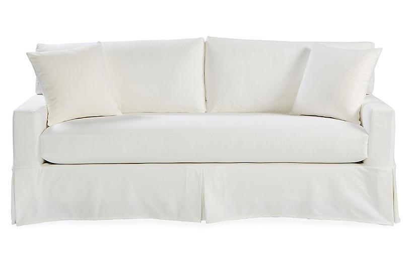 Liza Slipcovered Sofa, White