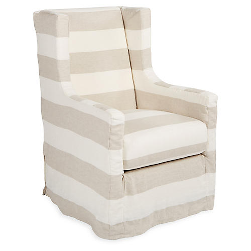 Nicole Swivel Chair, Taupe/Natural Linen