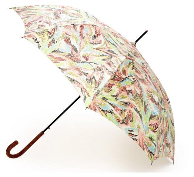 """35"""" Wood Umbrella, Pink/Green"""