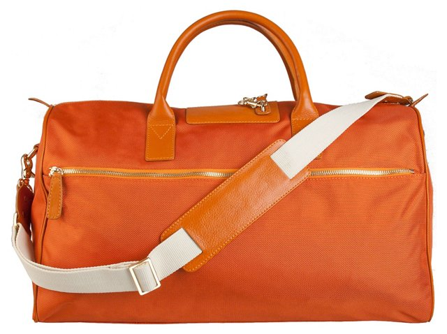 Leather Trim Overnight Bag, Clementine