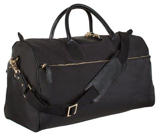 Leather Trim Overnight Bag, Black