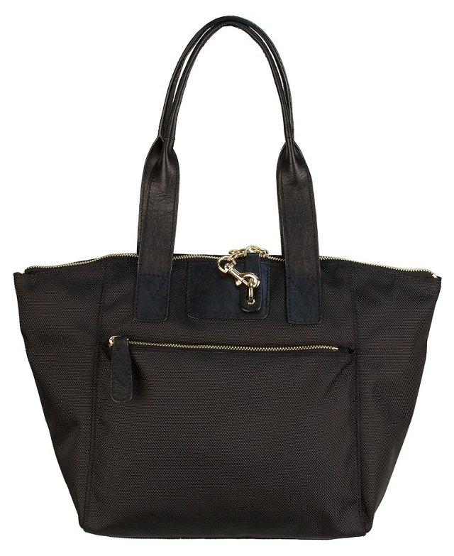 Leather Trim Lola Satchel, Black