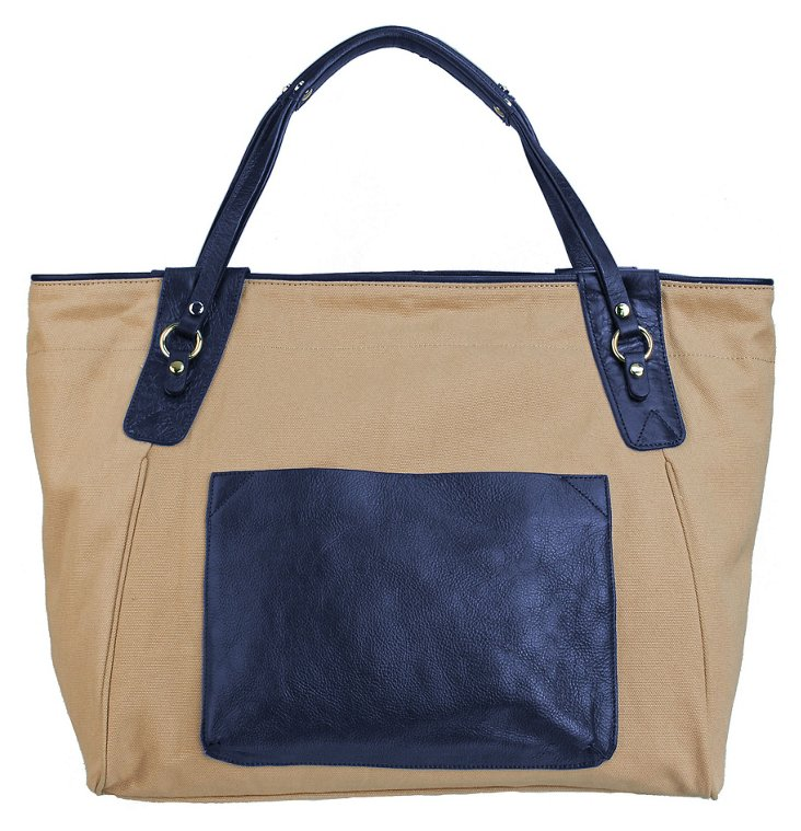 Leather Trim Sunday Tote, Blueberry