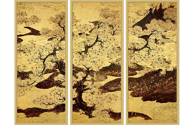 Lillian August, Cherry Trees Triptych 1