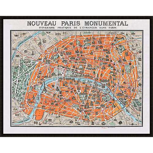 Monumental Paris Lillian August Map, Black