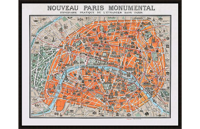 Monumental Paris Lillian August Map, Black