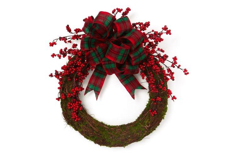Tartan Berry Wreath, Red & Green