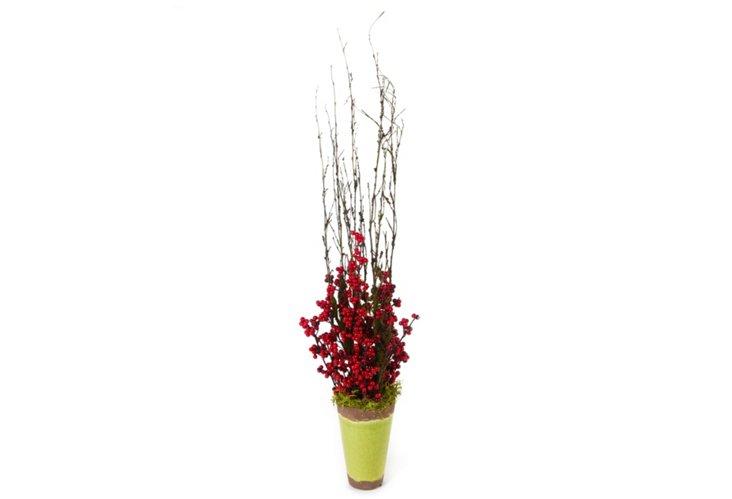 Christmas Berries Vase, Red