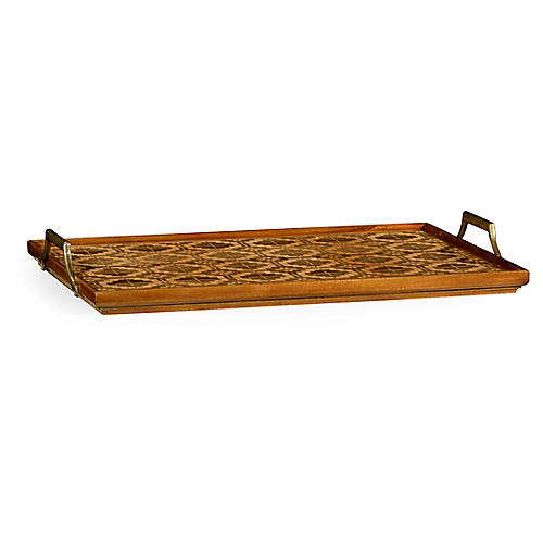 "25"" Rectangular Geometric Tray, Walnut"