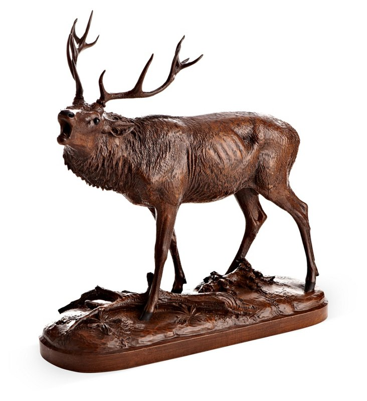 "17"" Calling Elk Sculpture, Brown"