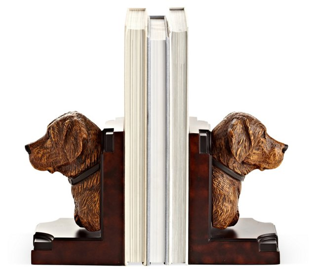 Pair of Yellow Lab Bookends