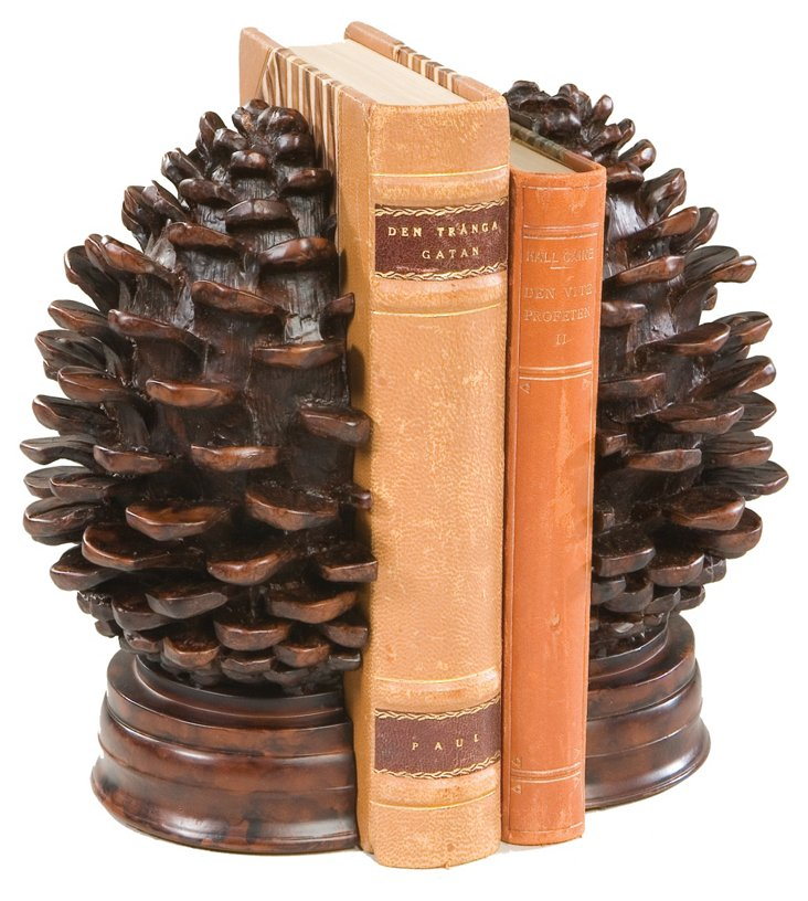 Pair of Pinecone Bookends, Brown