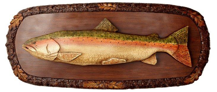 Carved Trout Plaque