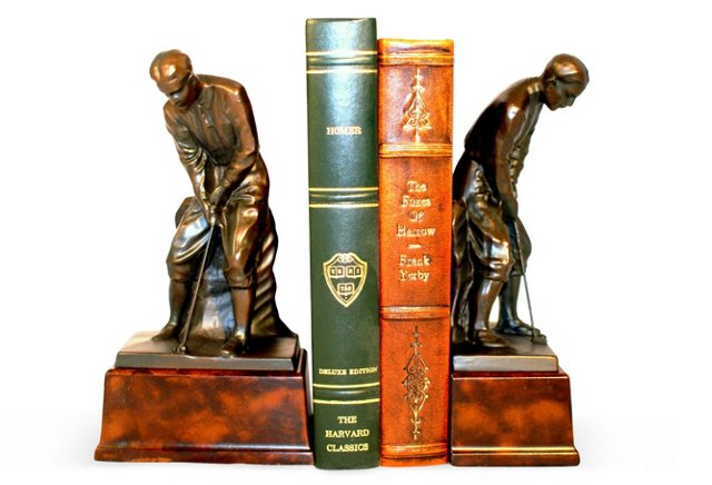 Pair of Putting Golfer Bookends, Bronze