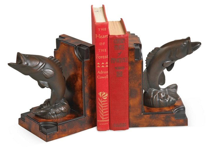 Pair of Jumping Bass Bookends