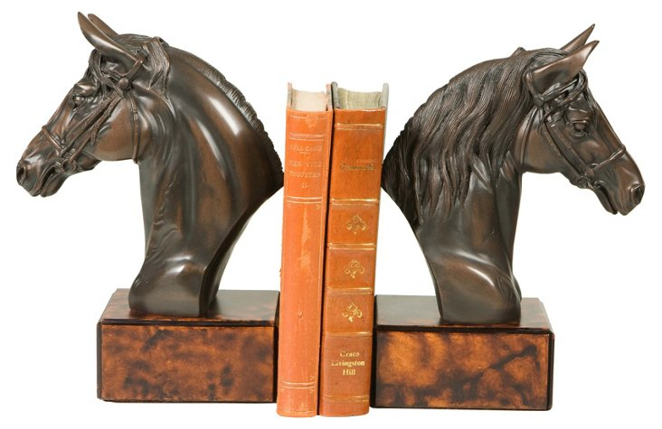 Pair of Stately Horse Bookends, Brown