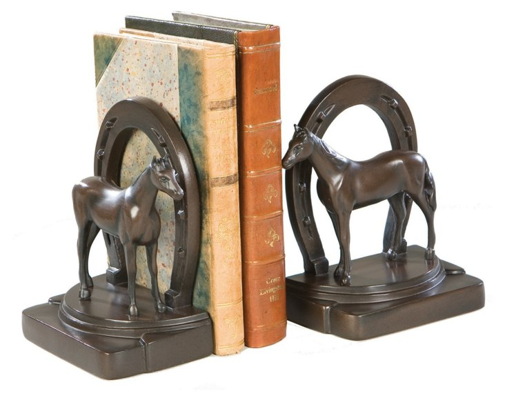 Pair of Equestrian Bookends, Bronze
