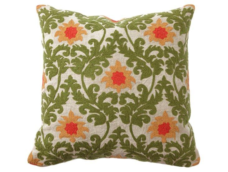 Verdure 18x18 Linen Pillow, Green