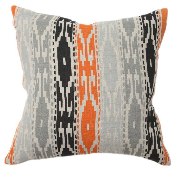Tunisia 18x18 Linen Pillow, Gray