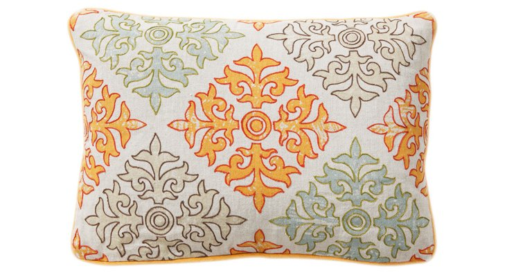 Tilework 14x20 Linen Pillow, Orange