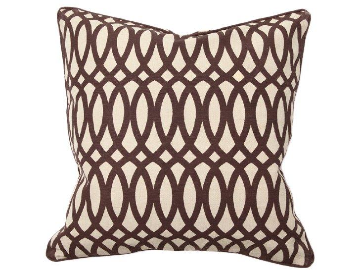 Trellis 22x22 Jute-Blend Pillow, Brown