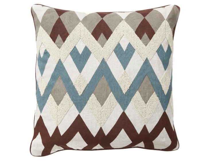Bazaar 18x18 Embroidered Pillow, Ivory