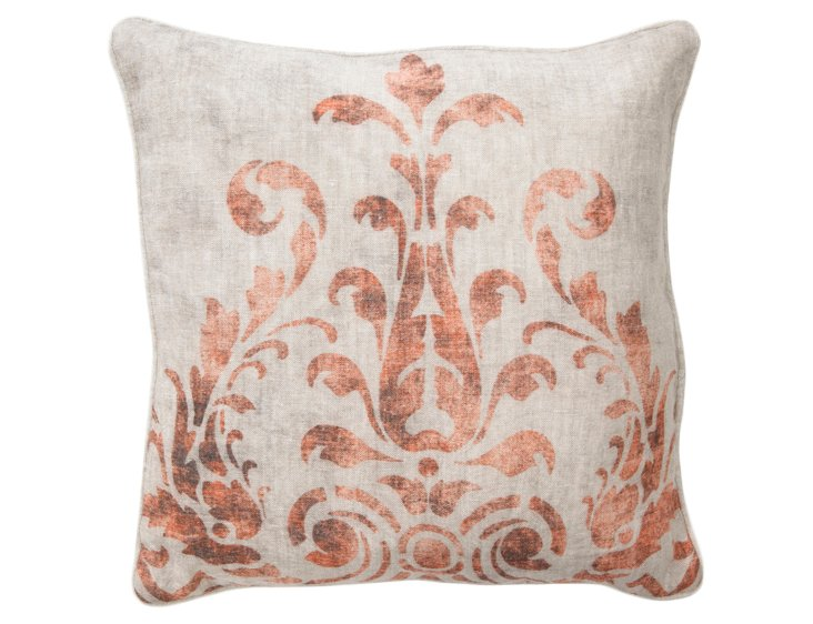 Fern 18x18 Cotton Pillow, Rust