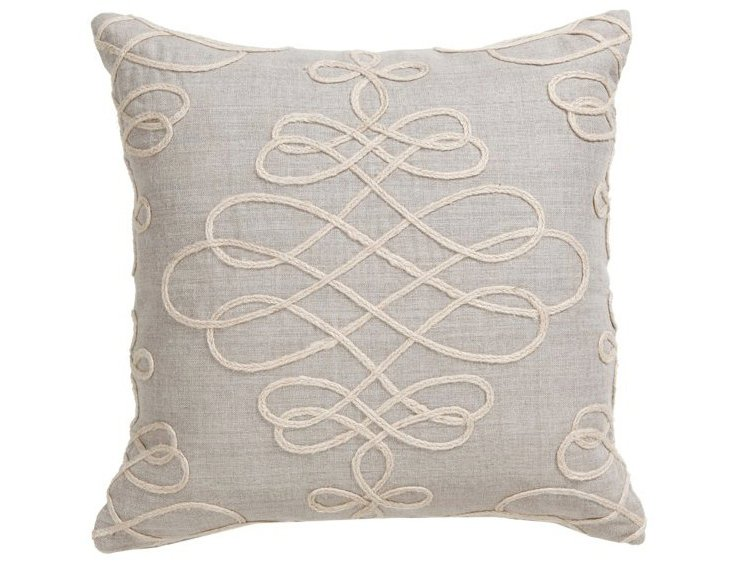 Adeline 18x18 Embroidered Pillow, Gray