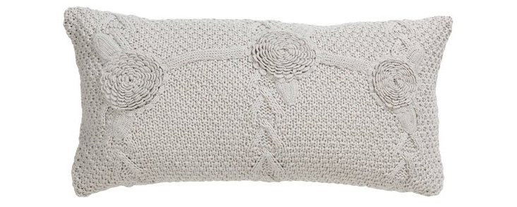 Mariabella 14x26 Cotton Pillow, Gray