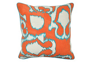 Leopard 18x18 Pillow, Orange/Gray