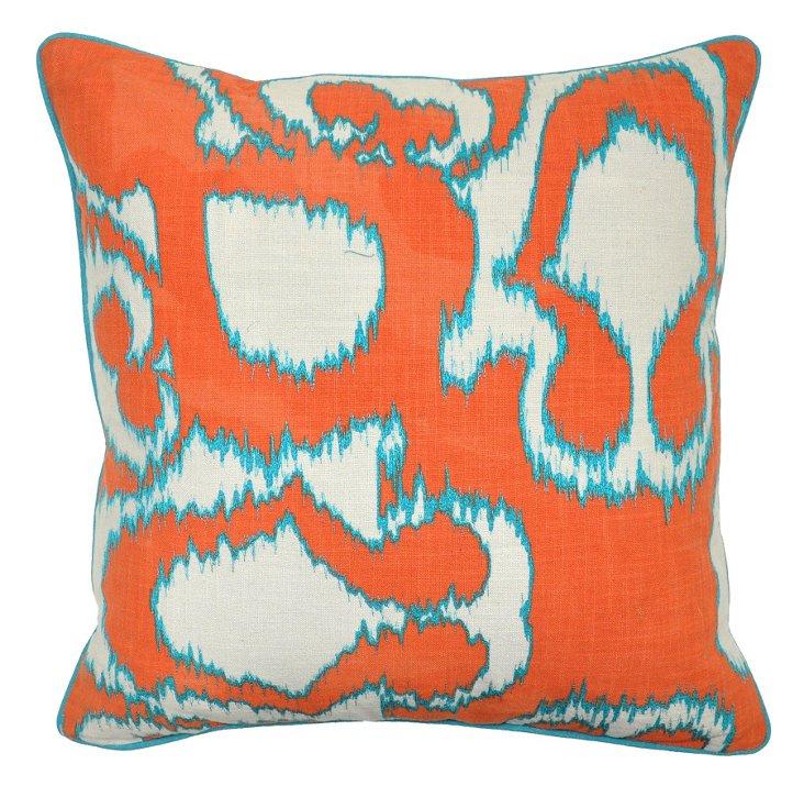 Leopard 22x22 Cotton Pillow, Orange/Blue