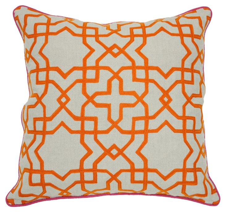 Tuile 22x22 Cotton Pillow, Orange