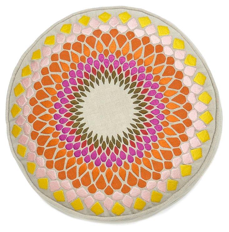 "Fleur de Sun 14"" Linen Pillow, Multi"