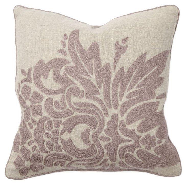 Flora 18x18 Linen Pillow, Purple