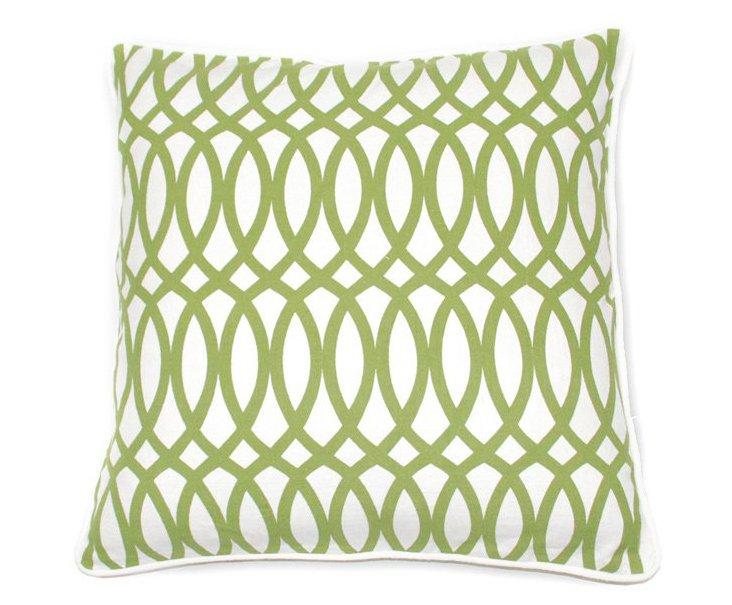 Geo 22x22 Cotton Pillow, Green