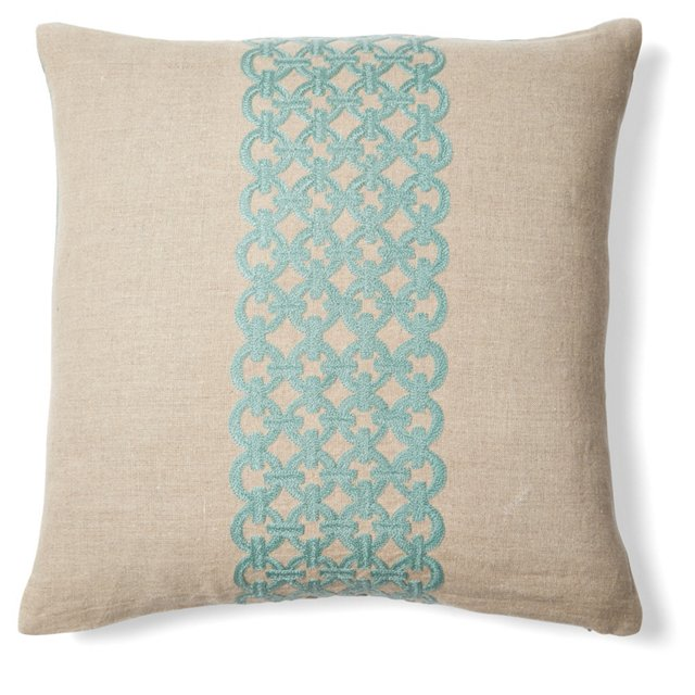 Link 18x18 Embroidered Pillow, Turquoise