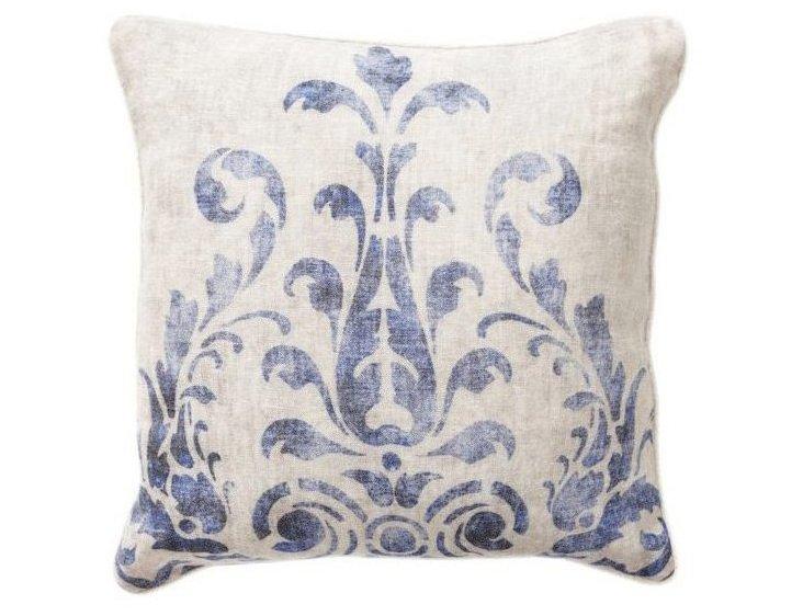 Fern 18x18 Cotton Pillow, Blue