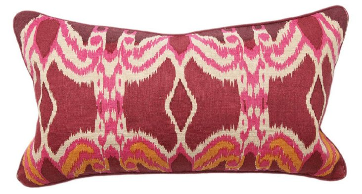 Boho Ikat 14x26 Cotton Pillow, Maroon