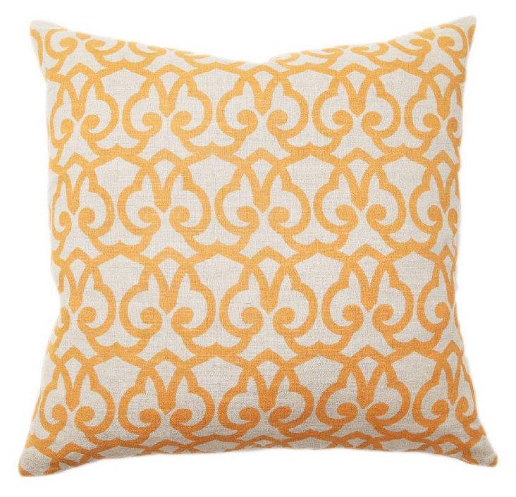 Trellis 22x22 Cotton Pillow, Gold