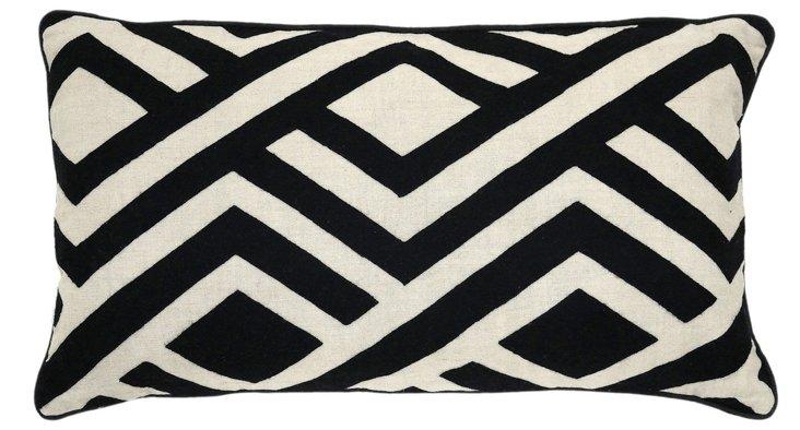 Perry 14x26 Cotton-Blend Pillow, Black