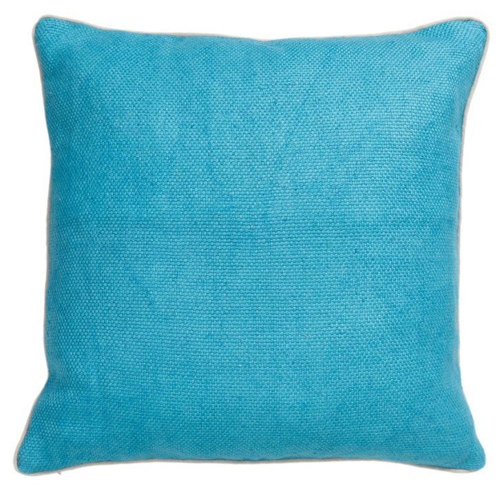 Willow 22x22 Cotton Pillow, Turquoise