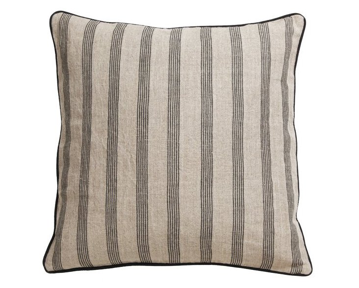 Heather 22x22 Cotton Pillow, Stone