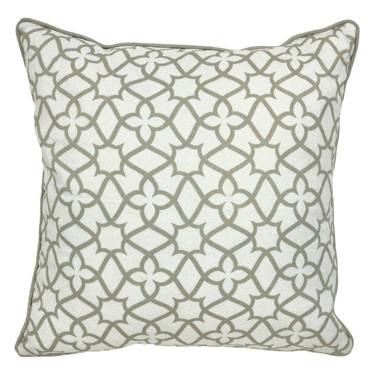 Wyndham 22x22 Linen Pillow, Ivory/Brown