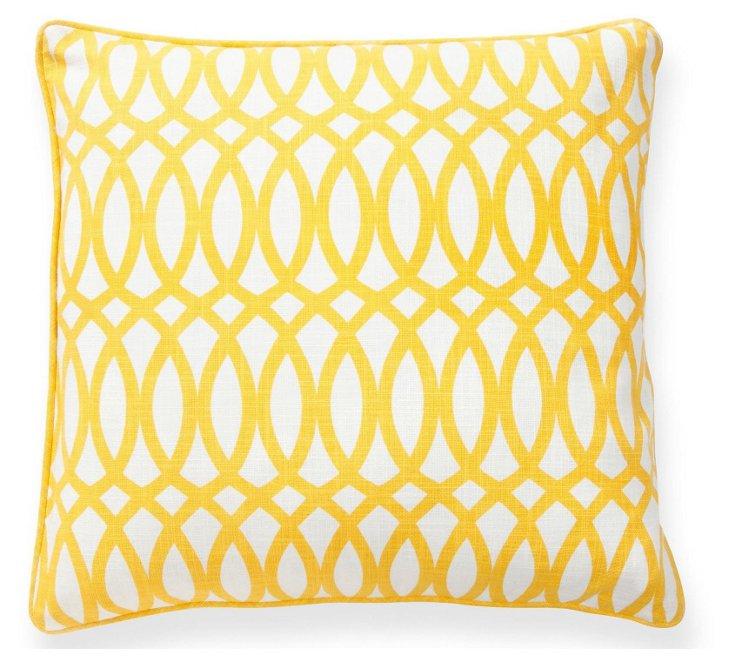Geo 22x22 Cotton Pillow, Yellow