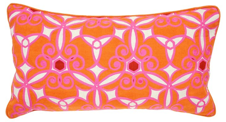 Bloom 14x26 Cotton Pillow, Orange