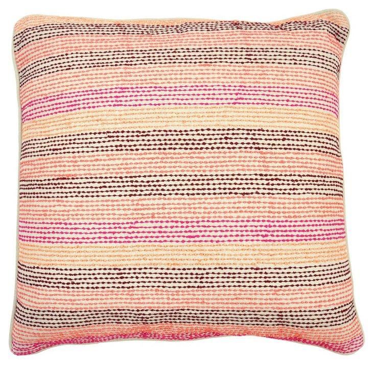Dotted Stripe 22x22 Pillow, Multi