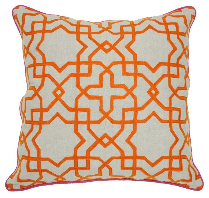 Tuile 22x22 Cotton Pillow, Orange
